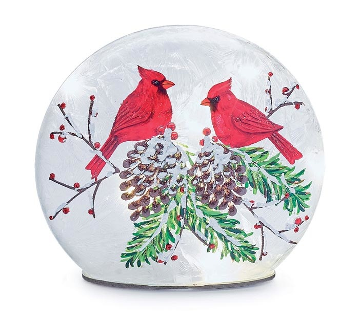 LED Cardinals on Pine Disk