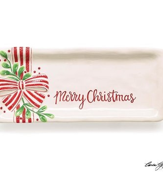 Ceramic Merry Christmas Mistletoe Tray