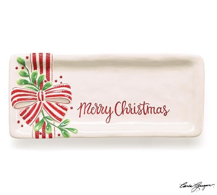Ceramic Merry Christmas Mistletoe Tray
