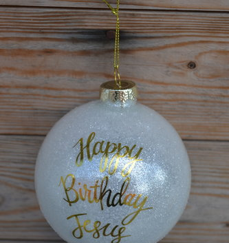 "4"" Gold Happy Birthday Jesus Ball Ornament"