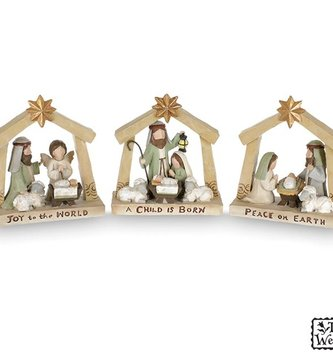 Small Tabletop Holy Family Nativity (3-Styles)