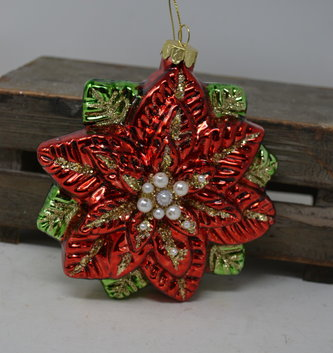 Old World Glass Poinsettia Ornament