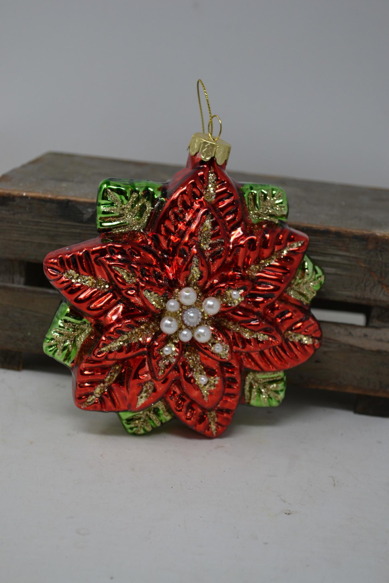 Old World Glass Poinsettia Ornament