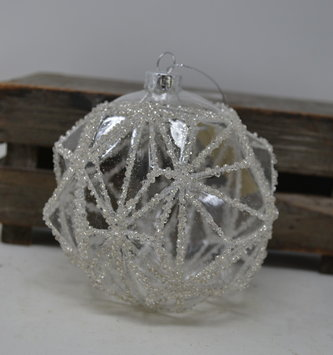 Glass Beaded Facet Round Ornament