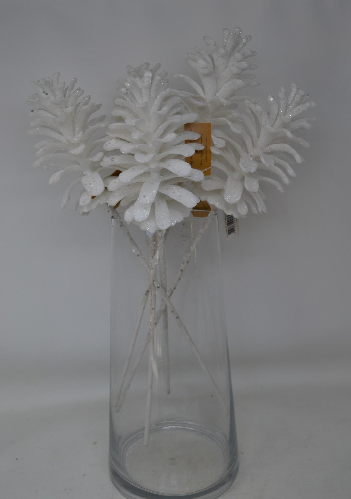 White Glitter Pinecone Pick
