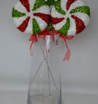 "16"" Peppermint Candy Tinsel Pick"