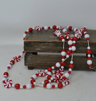 6-FT Glass Peppermint Garland
