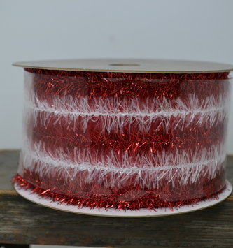 Red & White Tinsel Ribbon
