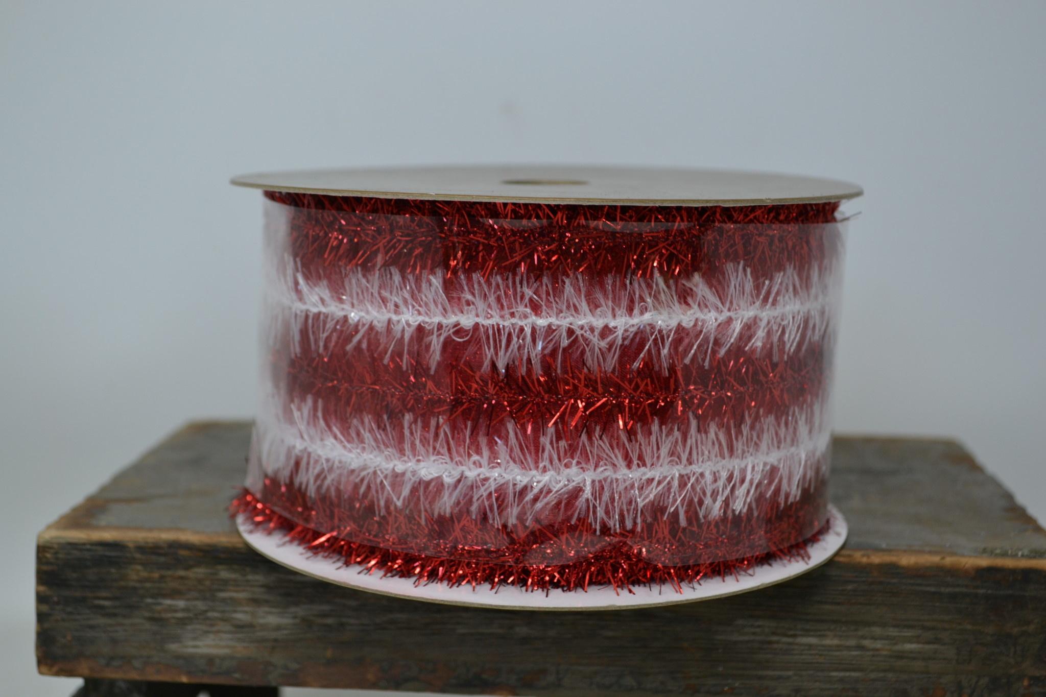 Red & White Tinsel Ribbon