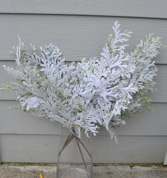 Flocked Cedar Winter Spray