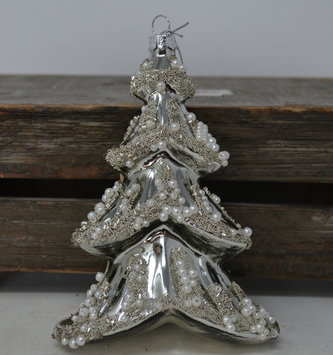 Silver Glass Pearl Tree Ornament