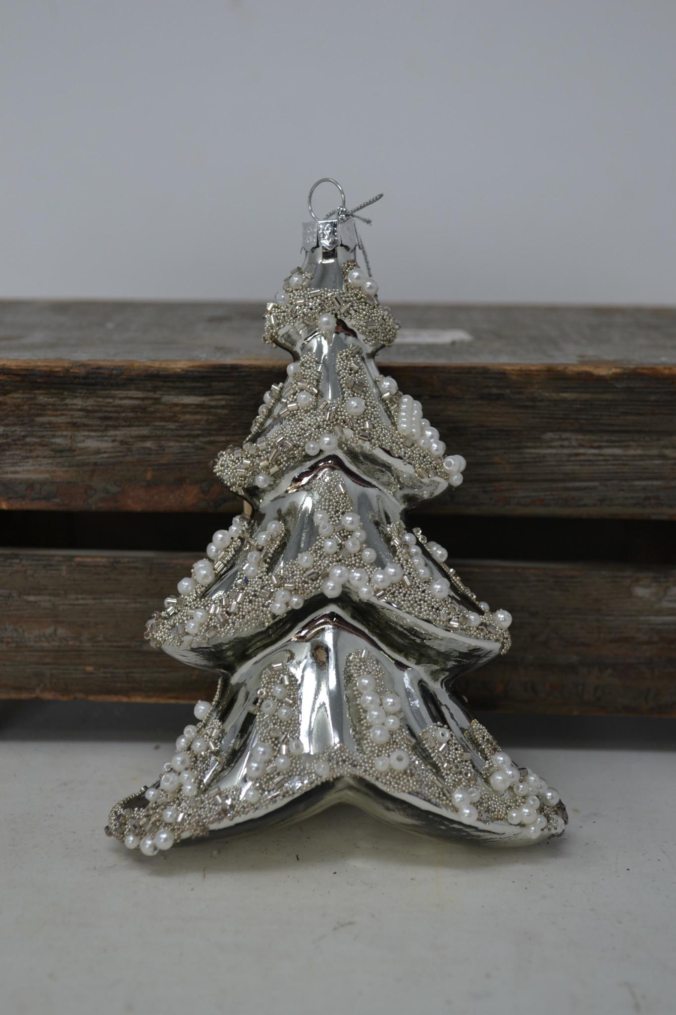 Silver Glass Pearl Tree Ornament