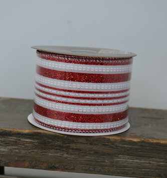 Peppermint Glitter Stripe Ribbon