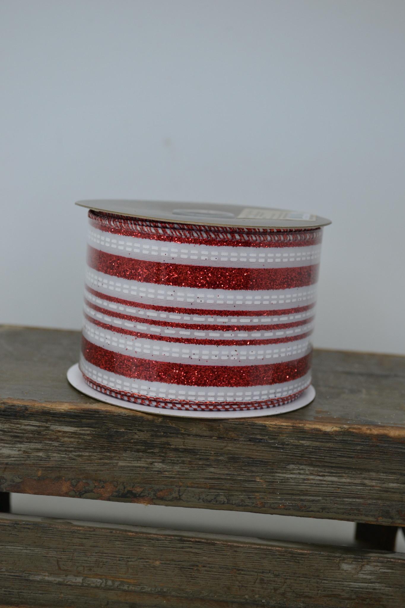 Peppermint Glitter Stripe Ribbon
