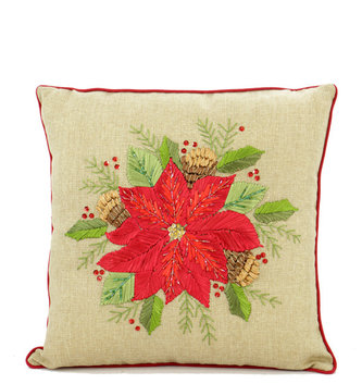 Square Embroidered  Poinsettia Pillow