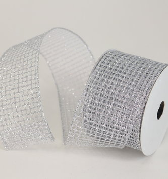 Silver Square Mesh Ribbon