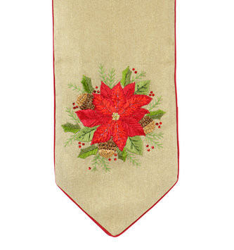 6-ft Embroidered Poinsettia Table Runner