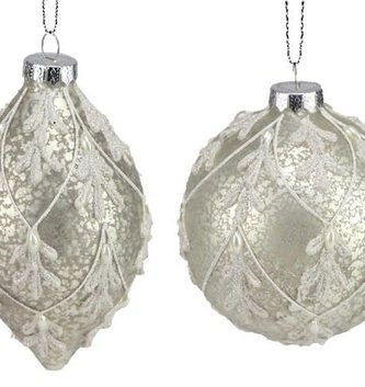 Platinum Aged Beaded Ornament