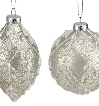 Platinum Aged Beaded Ornament