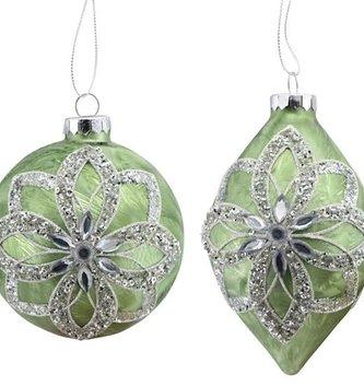 Sage Rhinestone Floral Ornament (2-Styles)