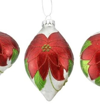 Glass Frosted Poinsettia Ornament (3-Styles)
