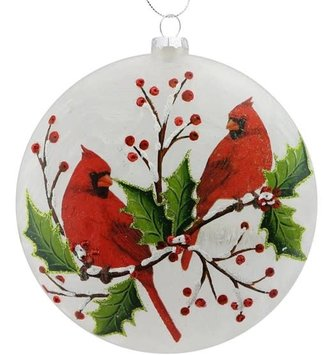 Glass Disk Cardinal Ornament