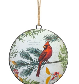 Woodland Cardinal Disk Ornament