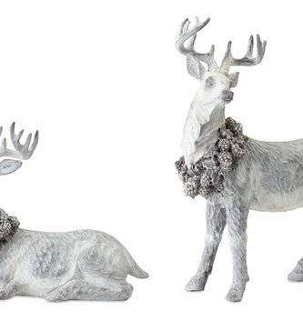 Set of Two Gray Carved Deer
