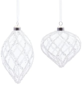 Clear Glass Beaded Ornament