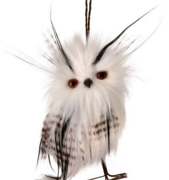 "5.5"" Guiney Feather Owl Ornament"