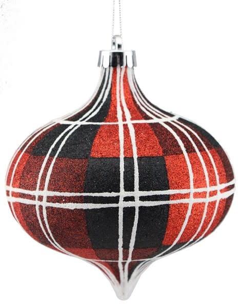 Red Plaid Teardrop Ornament