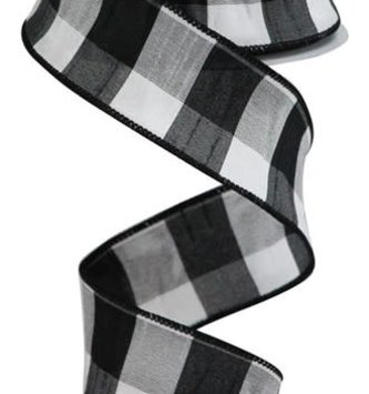 Black and White Gingham Ribbon