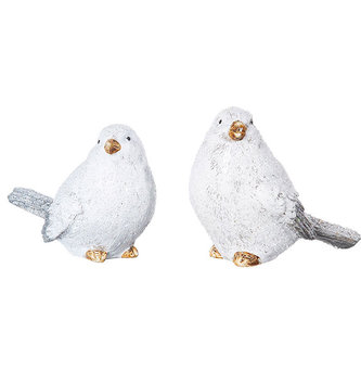 Set of 2 Snow Glittered Birds
