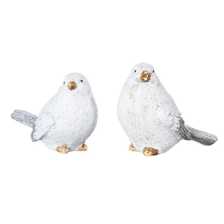 Set of 2 Snow Glittered Birds