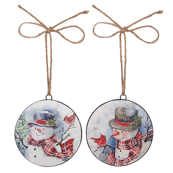Jolly Snowman With Cardinal Disc Ornament (2-Styles)