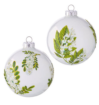"4"" White Botanical Ball Ornament (2-Styles)"