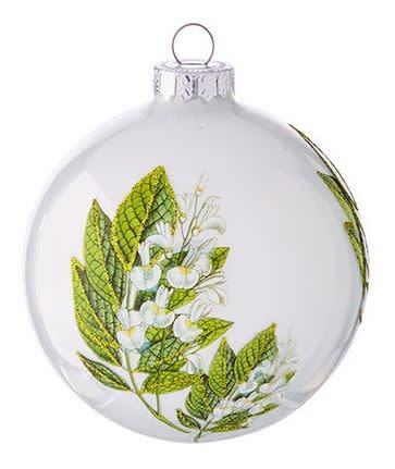 "4"" White Botanical Ball Ornament (2-Styles)"