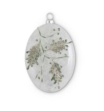 Glass Snowy Pine Branch Ornament