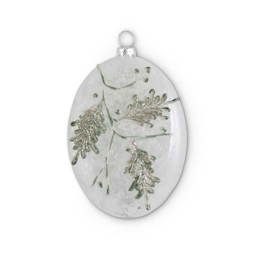 Glass Snowy Pine Branch Ornament