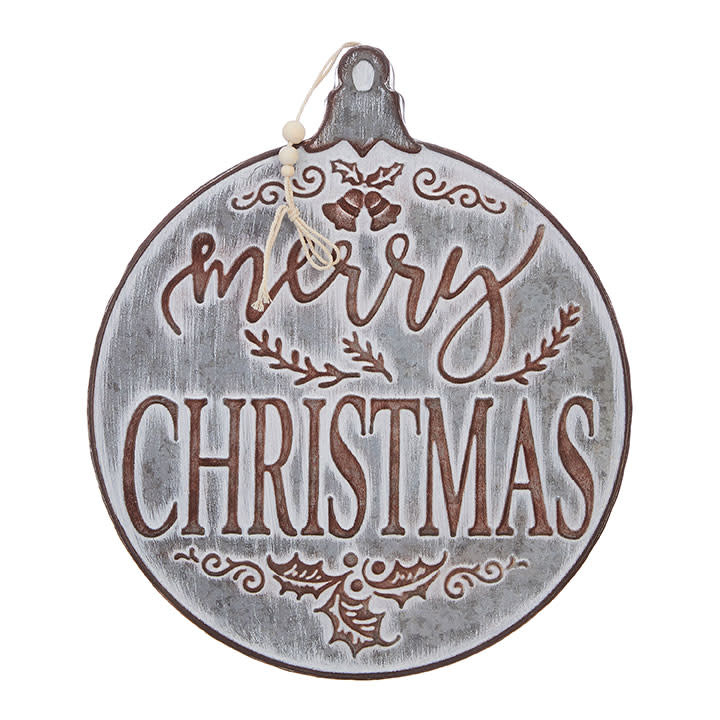 Whitewashed Round Merry Christmas Metal Sign