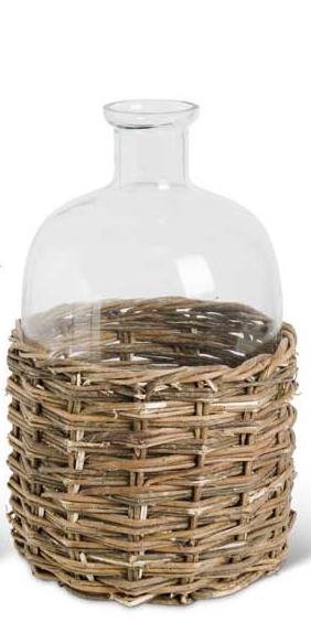 Clear Glass Bottle w/ Rattan Base (3-Sizes)