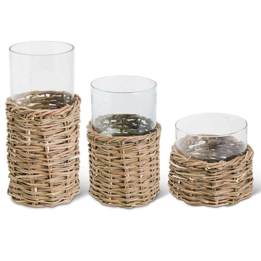 Set of 3 Clear Glass Cylinder w/ Rattan Base