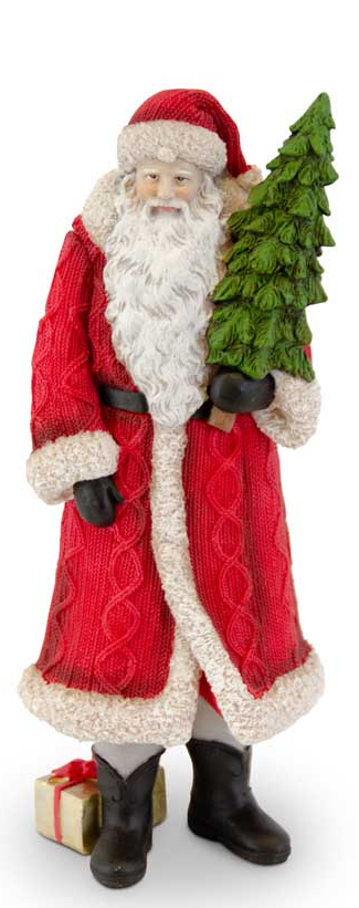 Traditional Resin Cable Knit Santa (2-Styles)