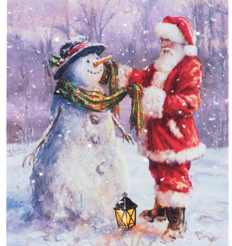 LED Tabletop Santa Building Snowman Canvas