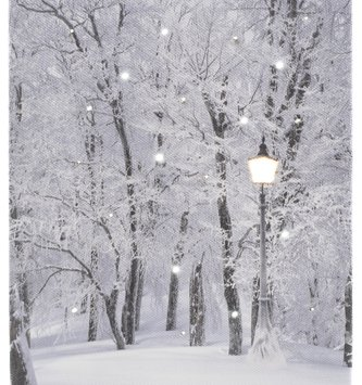 LED Tabletop Winter Forest w/ Lamp Post Canvas