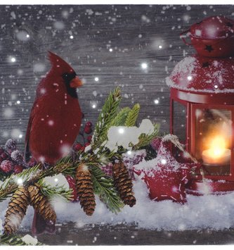 LED Tabletop Red Cardinal w/ Lantern Canvas