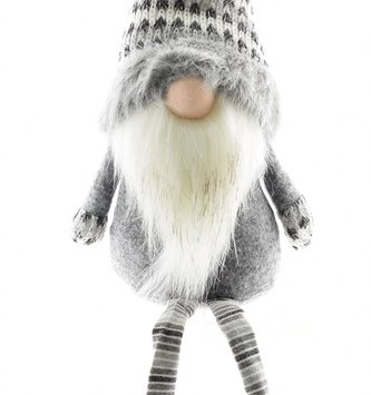 Jerry the Gray Tweed Gnome Shelf Sitter