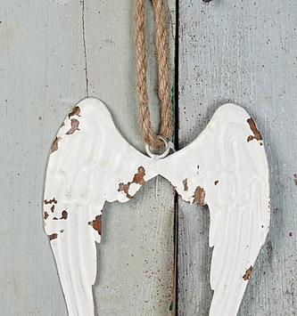 Distressed Metal Angel Wing Ornament