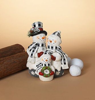 Gingham Snowman Family