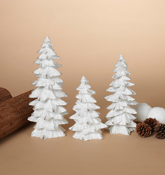Set of 3 White Glitter Trees